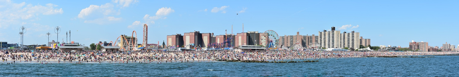 Panorama of Coney Island waterfront as seen from the pier in June 2016