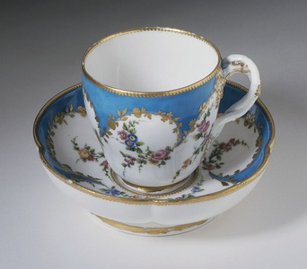 Cup with saucer; circa 1753; soft-paste porcelain with glaze and enamel; Los Angeles County Museum of Art