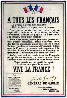 """To all Frenchmen"": de Gaulle exhorting the French to resist the German occupation"