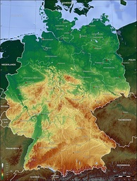Topographic map of Germany