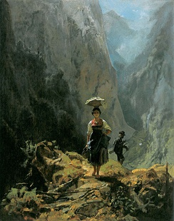 Painting by Carl Spitzweg (1808–1885), Dirndl und Jäger im Gebirge (Young woman and hunter in the mountains), 1870