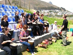 Drumming lessons at Beltaine Festival Cape Town 2010