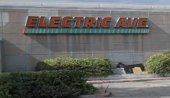 """Electric Avenue"" logo on closed store in Panorama City, California (2010)"