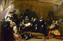 Pilgrims John Carver, William Bradford, and Miles Standish, at prayer during their voyage to America. Painting by Robert Walter Weir.