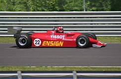 An Ensign N177 being raced in a Historic Grand Prix at the Lime Rock Park circuit in 2009.