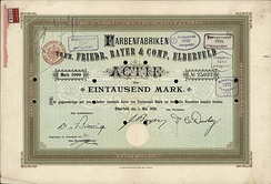 Share of Farbenfabriken vorm. Friedr. Bayer & Comp in Elberfeld, issued 1 May 1908