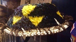 Fully feathered basket curated at the Jesse Peter Multicultural Museum, Santa Rosa College