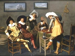 Dirck Hals, genre scene of Gentlemen Smoking and Playing Backgammon in an Interior. Note the paintings on the wall of what appears to be a tavern; also here.