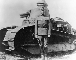 Patton at Bourg in France in 1918 with a Renault FT light tank
