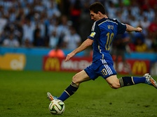 Lionel Messi, who is sponsored by Adidas, prepares to shoot with his dominant left foot during the final of the 2014 FIFA World Cup.