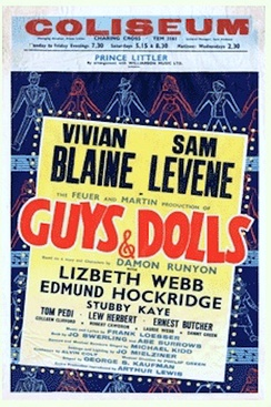 Window card 1st UK production of Guys and Dolls starring Vivian Blaine and Sam Levene which ran for 555 performances at London's Coliseum
