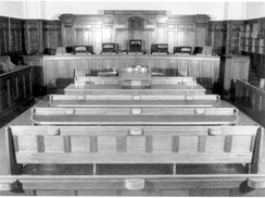 The court's home between 1928 and 1980, the purpose-built courtroom in Little Bourke Street, Melbourne.