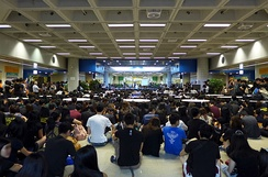 City University of Hong Kong students staging a sit-in during 2014 Hong Kong protests over blocking of electoral reforms