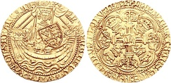 A gold noble coin of Henry V