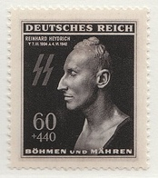 Postage stamp (1943) features the death mask of Heydrich