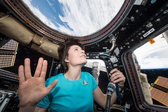 ISS-42 astronaut Samantha Cristoforetti pays tribute to actor Leonard Nimoy,  with a Vulcan salute in 2015 from space