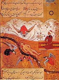 Another painting of angels prostrating before Adam with Iblis refusing, here depicted with a headcover