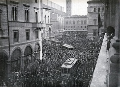 A pro-war demonstration in Bologna, 1914.