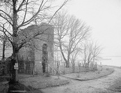 Remains of the 1639 tower of the old church (photographed c. 1900)