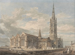 Watercolour and graphite 1797 painting of Grantham Church by J. M. W. Turner, now housed at the Yale Center for British Art