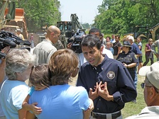 Jindal talks to residents of Krotz Springs, LA, during the 2011 flooding of the Mississippi River