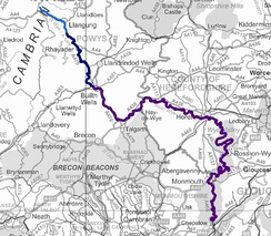 Map showing the River Wye from source to sea, excluding tributaries