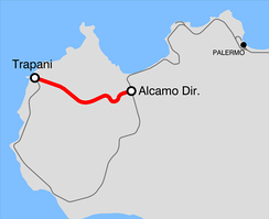 Railway route between Alcamo and Trapani.