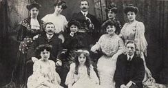 The Wood family, from left to right: Top row: Daisy, Rosie, John, Grace, Alice. Middle: John Wood (father), Matilda (mother), Marie. Bottom: Annie, Maud, Sydney