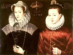 Mary depicted with her son, James VI and I; in reality, Mary saw her son for the last time when he was ten months old.