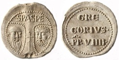 Lead bulla (obverse and reverse) of Gregory IX, pope 1227 to 1241