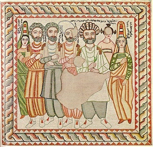 Funerary mosaic of an Edessa family, 3rd century.