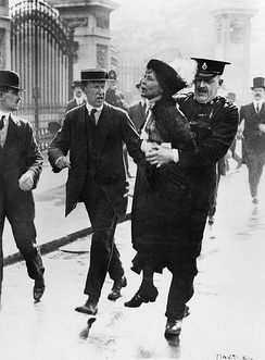 Pankhurst is arrested by police outside Buckingham Palace while trying to present a petition to George V in May 1914