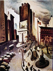 In 1920, the American artist Thomas Hart Benton depicted the Seward statue, the Eternal Light flagpole, and the Worth obelisk in his painting New York, Early Twenties.