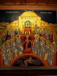 The Council of Nicaea, with Arius depicted as defeated by the council, lying under the feet of Emperor Constantine