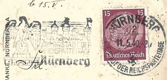 Postal marking from Nuremberg, May 1940, referring to the Reichsparteitage