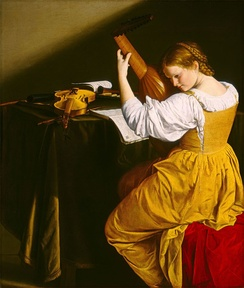 Orazio Gentileschi's young lutenist, painted c. 1626, plays a 10-course lute, typical of the time from around 1600 through the 1630s.