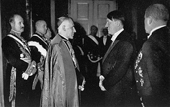 Hitler in 1935 with Cesare Orsenigo, the Catholic Church's nuncio to Germany