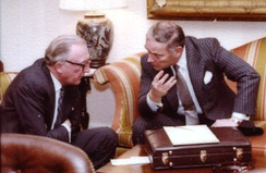 Carrington (then Foreign Secretary) and US Secretary of State Haig meet during a 1981 state visit by Margaret Thatcher to the US