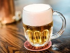 A mug of Pilsner Urquell, the first pilsner type of pale lager beer, brewed since 1842