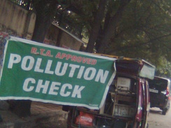 A Mobile Pollution Check Vehicle in India.