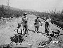 Road construction at Kimberly-Wasa, British Columbia. The federal government established Relief Projects in 1933 during the height of the Great Depression for unemployed married men of British descent
