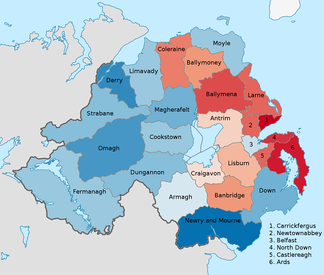Districts of Northern Ireland by predominant religion at the 2011 census. Blue is catholic and red is protestant and other christians.