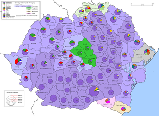 Ethnic map of the Kingdom of Romania in 1930