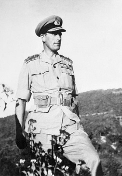 Lord Louis Mountbatten, Supreme Allied Commander, seen during his tour of the Arakan Front in February 1944