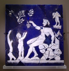 Satyr giving a grapevine to Bacchus as a child; cameo glass, first half of the 1st century AD; from Italy