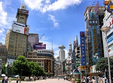 One of the busiest shopping streets in the world, Nanjing Road in Shanghai is an example of economic growth in mainland China, and its large consumer base.