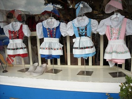 Imitation Danish costumes on sale in Solvang