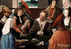The Card Players by Lucas van Leyden (1520) depicting a multiplayer card game.