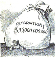 American political cartoon depicting the contemporary view of German reparations, 1921