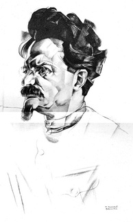 Trotsky in a 1922 cubist portrait by Yury Annenkov – a version of this appeared on one of the earliest covers of Time magazine.